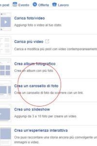 carosello su facebook