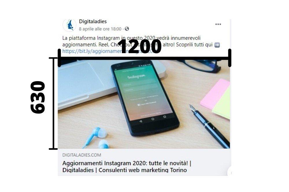 dimensioni facebook 2020 anteprima link