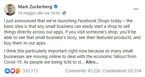 Mark Zuckerberg annuncia Facebook Shops