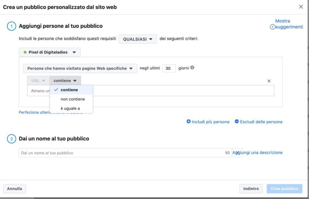 creazione dei pubblici personalizzati  tramite visitatori pagine web